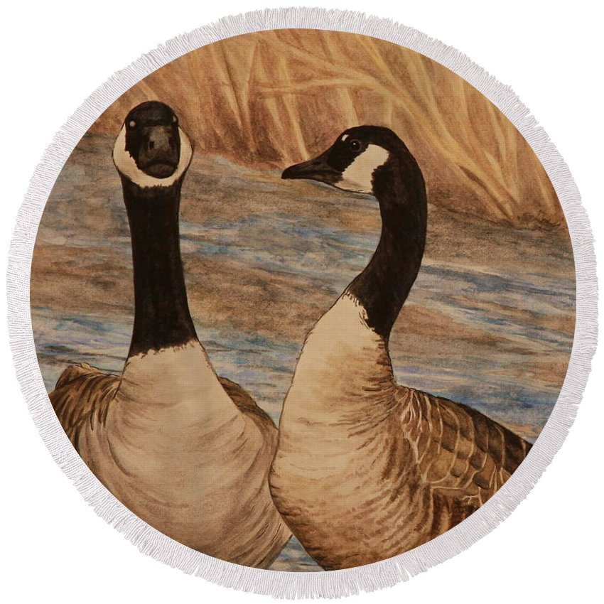 Canadian Goose Round Beach Towel featuring the painting Canadian Geese by Michelle Miron-Rebbe