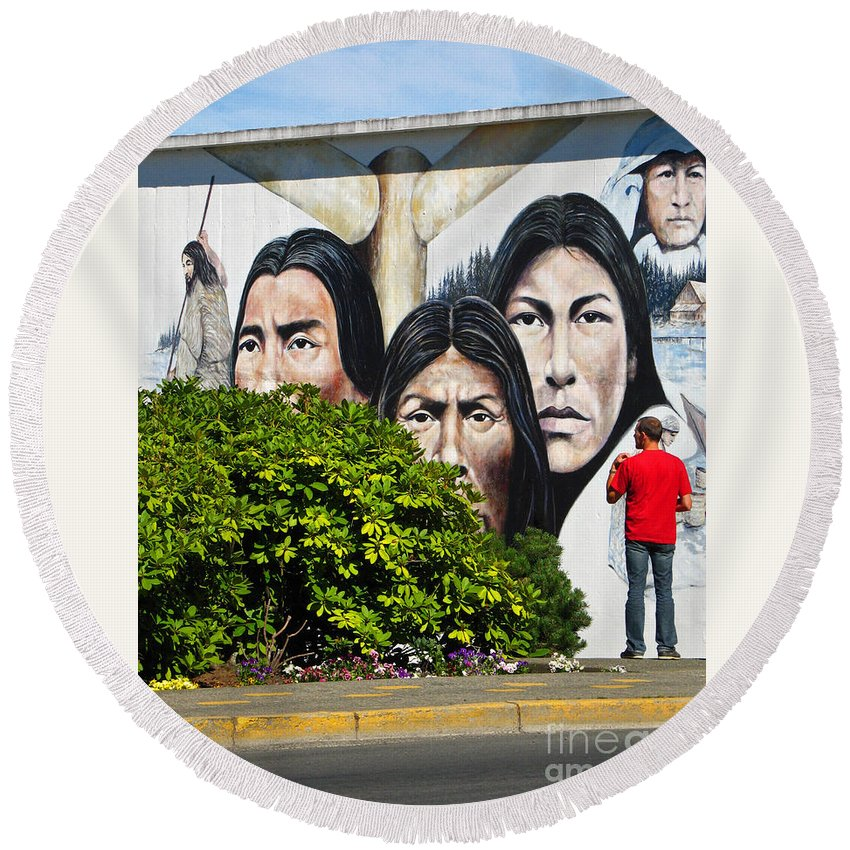 Canada Round Beach Towel featuring the photograph Canadian Retrospective by Ann Horn