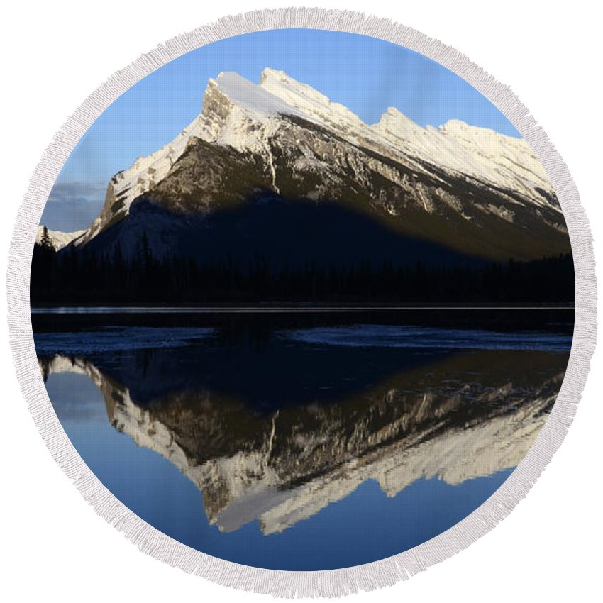Mount Rundle Round Beach Towel featuring the photograph Canadian Rockies Mount Rundle 1 by Bob Christopher