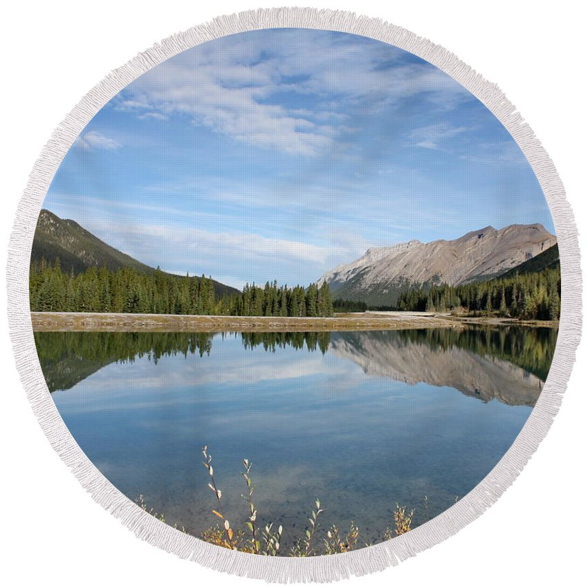 Mountains Round Beach Towel featuring the photograph Canadian Rocky Mountains With Lake by Terry Fleckney