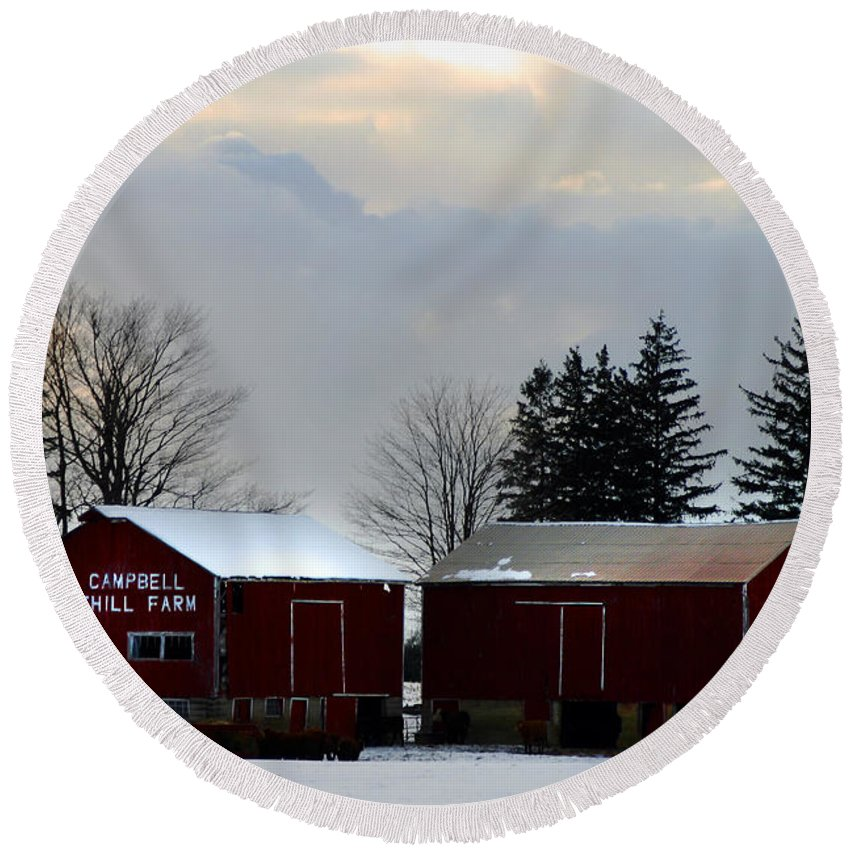 Canada Round Beach Towel featuring the photograph Canadian Snowy Farm by Anthony Jones