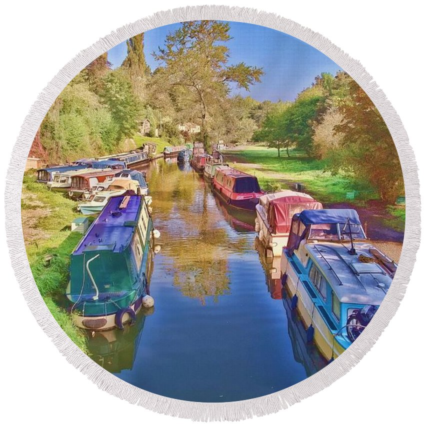 Barge Round Beach Towel featuring the photograph Canal Barges by Paul Gulliver
