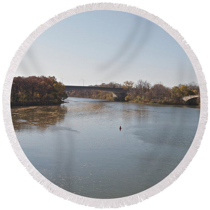 Erie Canal Round Beach Towel featuring the photograph Canal Crossing by William Norton