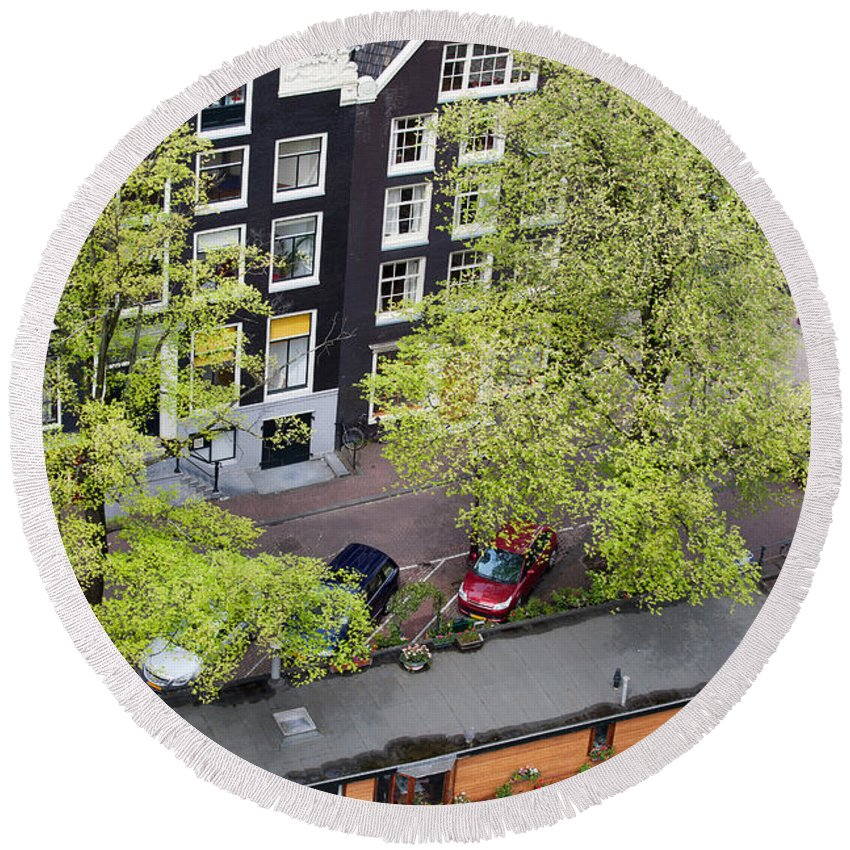 Amsterdam Round Beach Towel featuring the photograph Canal Houses And Houseboat In Amsterdam by Artur Bogacki