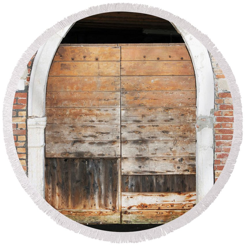 Vertical Round Beach Towel featuring the photograph Canalside Weathered Door Venice Italy by Sally Rockefeller