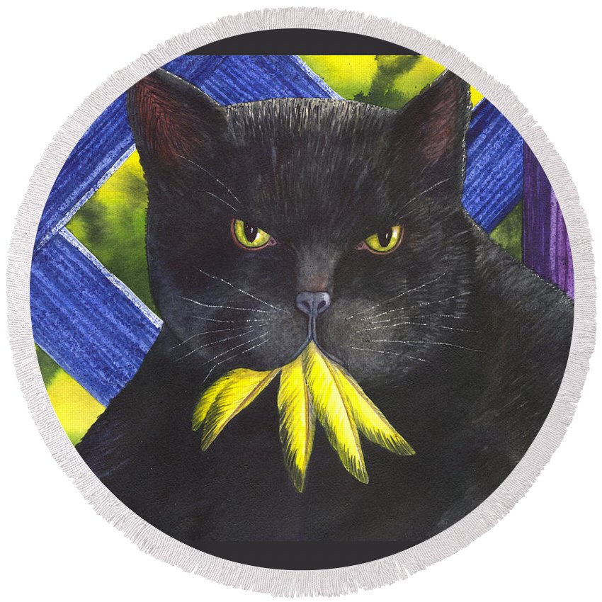 Cat Round Beach Towel featuring the painting Canary? by Catherine G McElroy