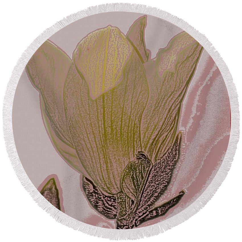 Yellow Bird Round Beach Towel featuring the photograph Canary Yellow Magnolia by Sonali Gangane