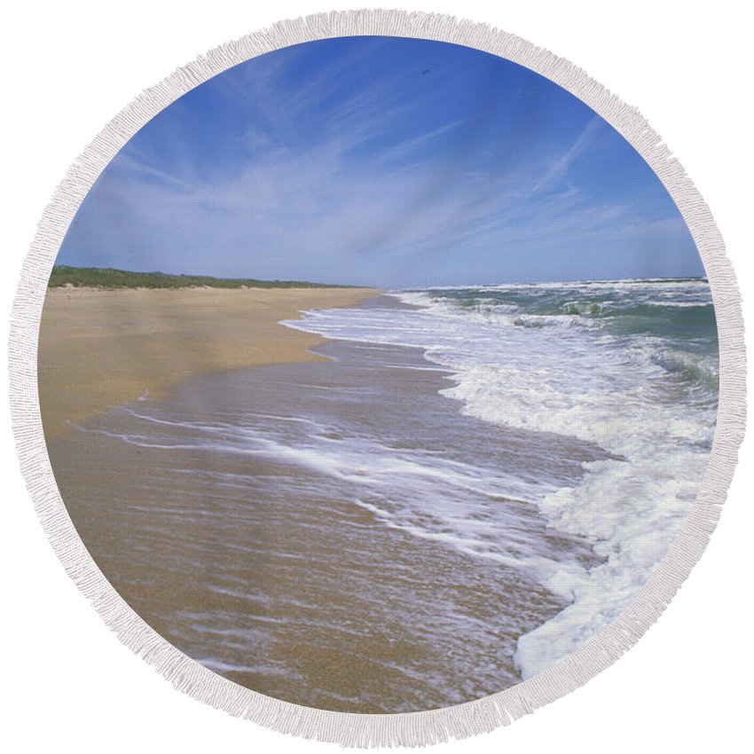 Sandy Round Beach Towel featuring the photograph Canaveral National Seashore by Millard H. Sharp