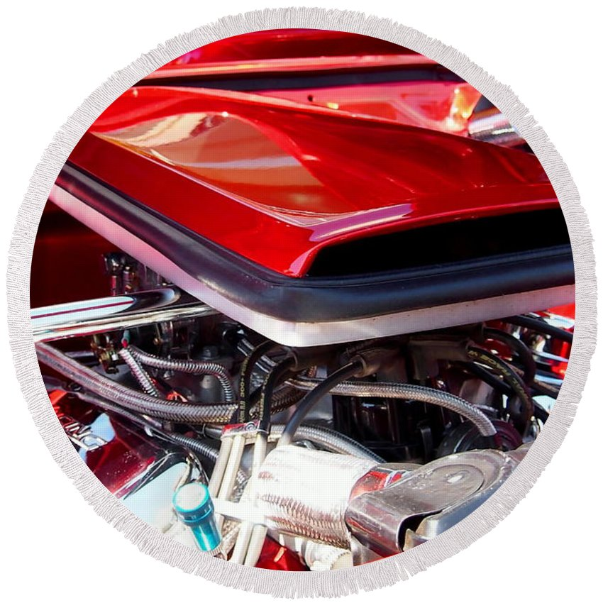 Car Round Beach Towel featuring the photograph Candy Apple Red Horsepower - Ford Racing Engine by Amy McDaniel