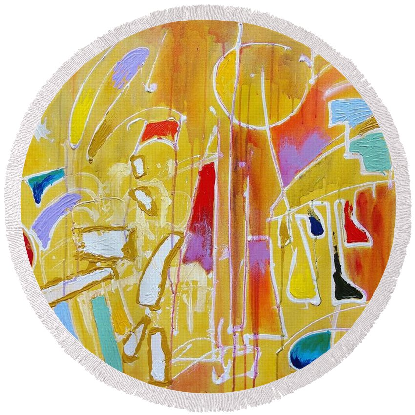 Abstract Round Beach Towel featuring the painting Candy Shop Garnish by Jason Williamson