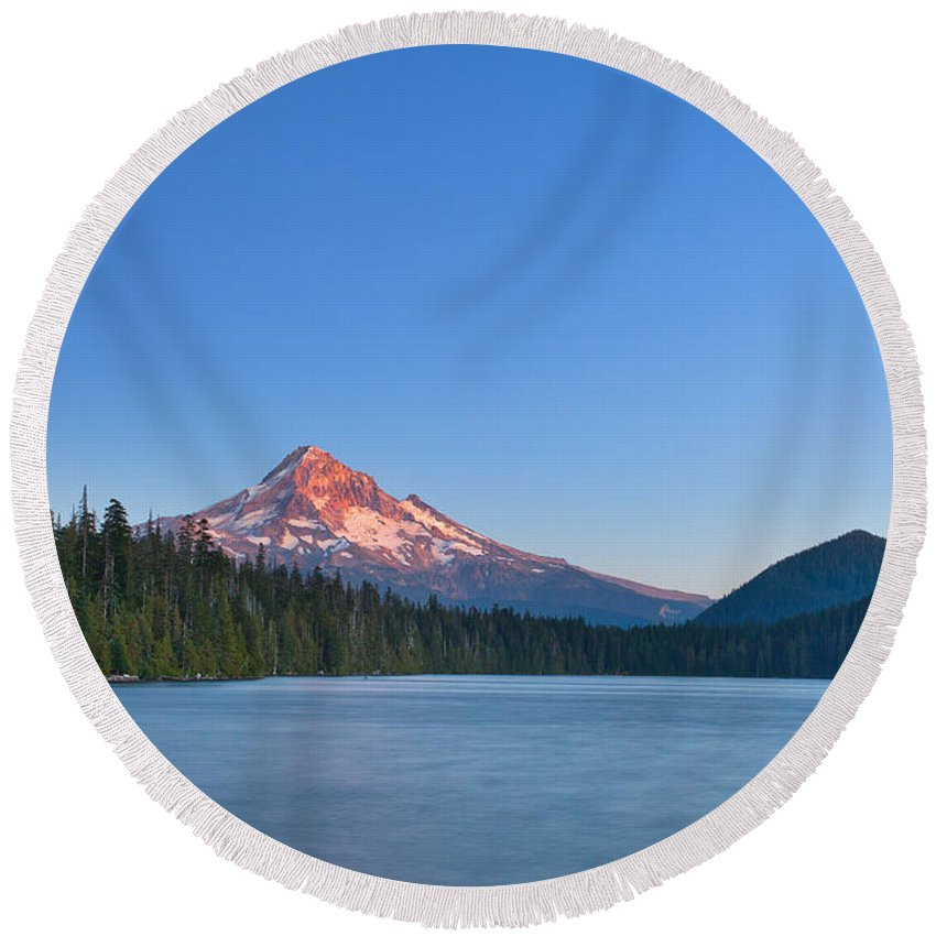 Mount Hood Round Beach Towel featuring the photograph Candy Topper by Darren White