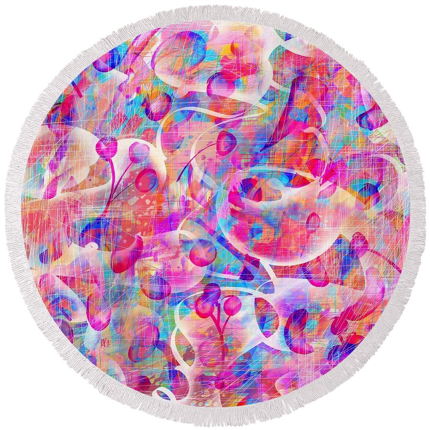 Abstract Round Beach Towel featuring the digital art Candyland by Rachel Christine Nowicki