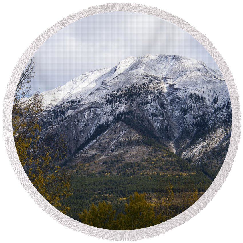 Canmore Canada Tree Trees Rocky Mountains Mountain Canadian Rockies Fall Color Autumn Colors Peak Peaks Snow Cloud Clouds Round Beach Towel featuring the photograph Canmore Rocky Mountain View by Bob Phillips