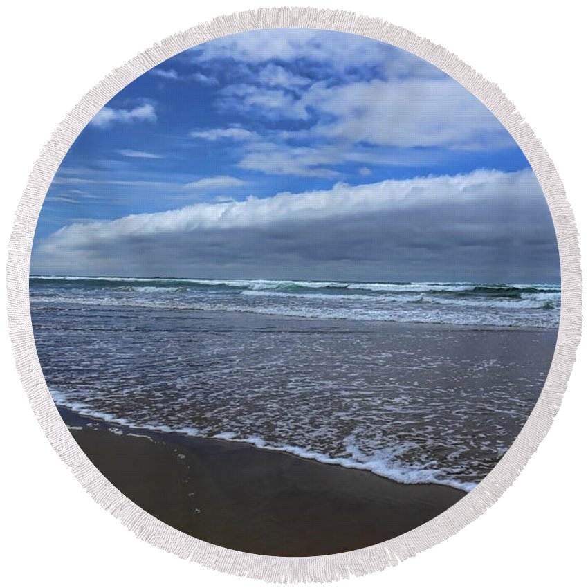 Dale Kauzlaric Round Beach Towel featuring the photograph Cannon Beach Surf And Storm by Dale Kauzlaric