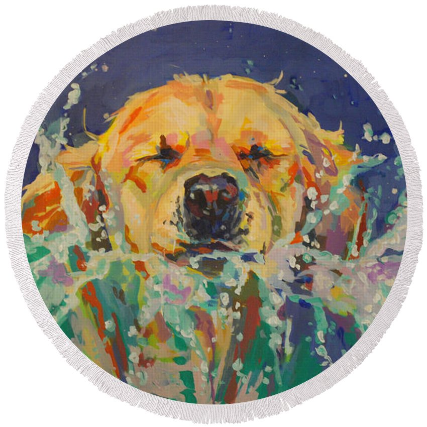 Golden Retriever Round Beach Towel featuring the painting Cannonball by Kimberly Santini