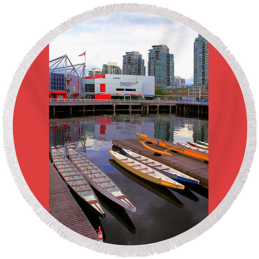 Nautical Round Beach Towel featuring the photograph Canoe Club And Telus World Of Science In Vancouver by Ben and Raisa Gertsberg