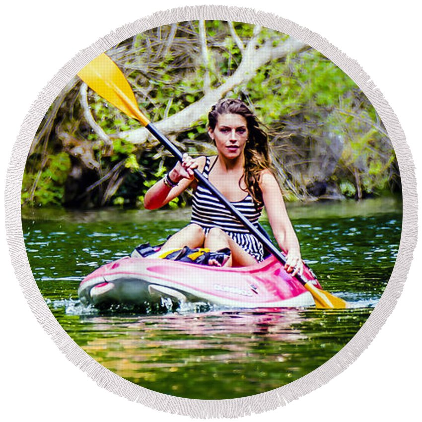 Beautiful Round Beach Towel featuring the photograph Canoe For Girls by Sotiris Filippou