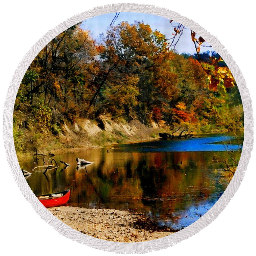 Autumn Round Beach Towel featuring the photograph Canoe on the Gasconade River by Steve Karol