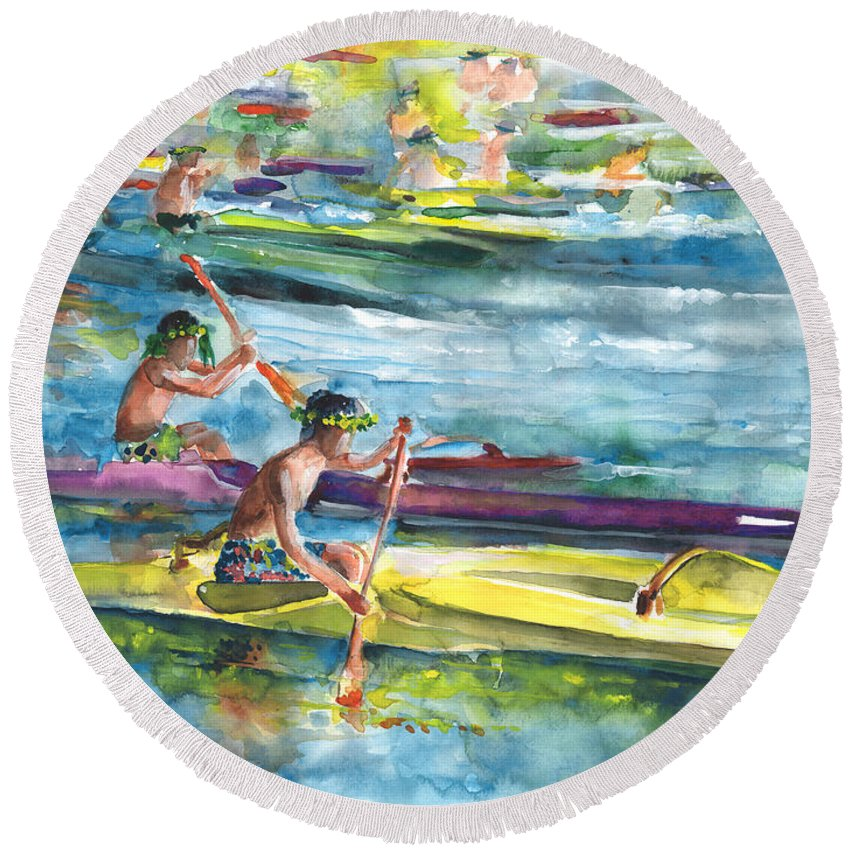 Travel Round Beach Towel featuring the painting Canoe Race In Polynesia by Miki De Goodaboom