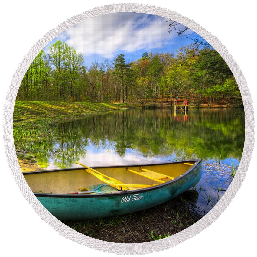 Appalachia Round Beach Towel featuring the photograph Canoeing At The Lake by Debra and Dave Vanderlaan