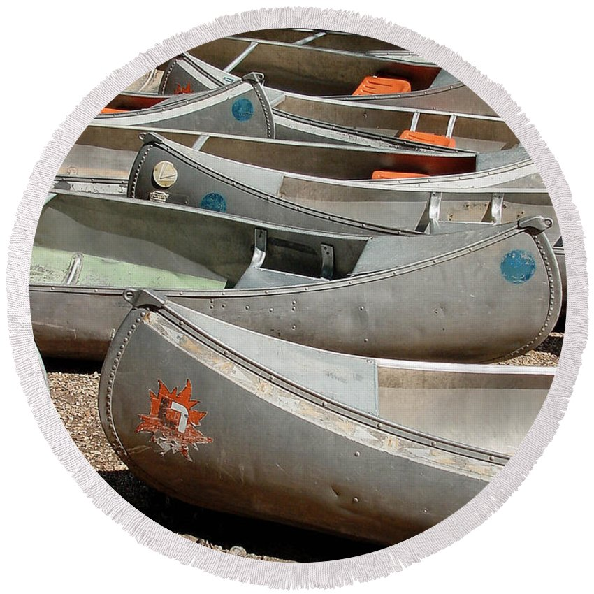 Gary Gingrich Round Beach Towel featuring the photograph Canoes 143 by Gary Gingrich Galleries