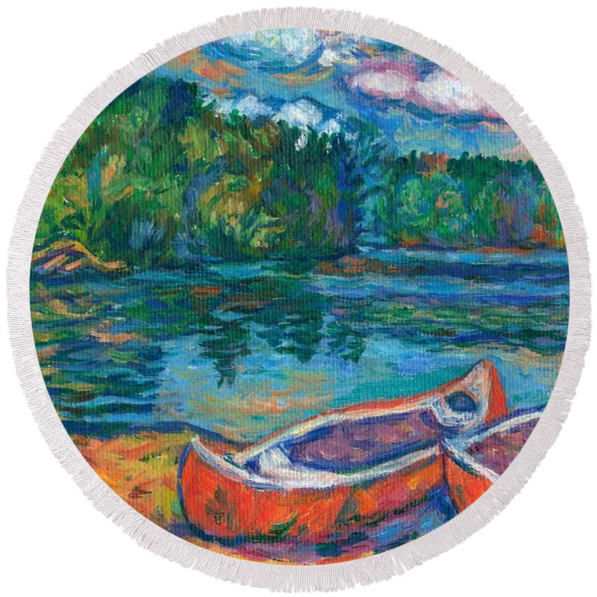 Landscape Round Beach Towel featuring the painting Canoes at Mountain Lake Sketch by Kendall Kessler