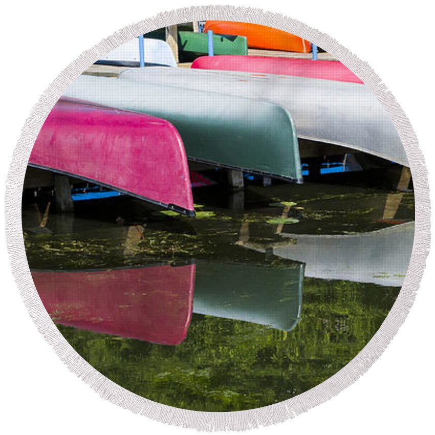 Canoes Round Beach Towel featuring the photograph canoes - Lake Wingra - Madison by Steven Ralser