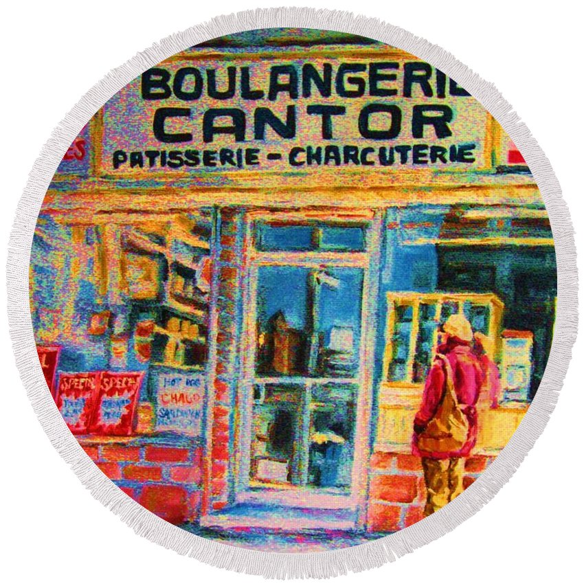 Cantors Round Beach Towel featuring the painting Cantors Bakery by Carole Spandau