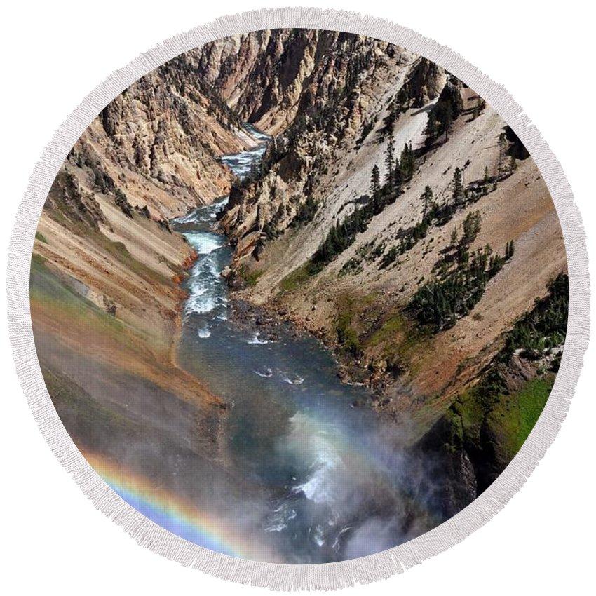 Rainbow Round Beach Towel featuring the photograph Canyon Rainbow by Marty Koch