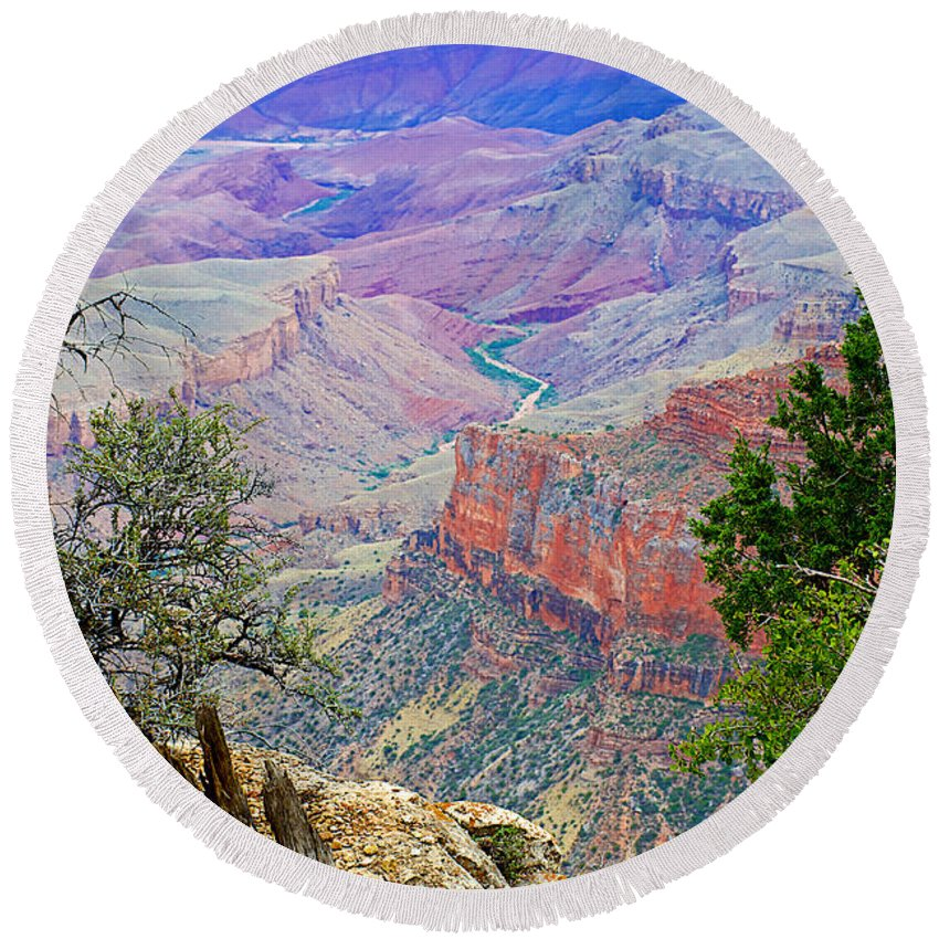 Canyon View From Walhalla Overlook On On North Rim/grand Canyon National Park Round Beach Towel featuring the photograph Canyon View From Walhalla Overlook On North Rim Of Grand Canyon-arizona by Ruth Hager