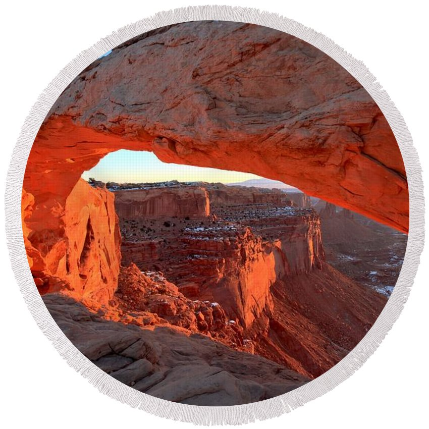 Mesa Arch Sunrise Round Beach Towel featuring the photograph Canyonlands Spectacular by Adam Jewell