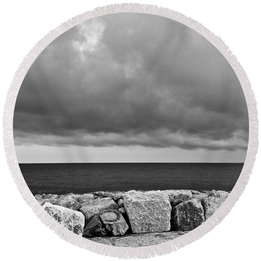 Carole Round Beach Towel featuring the photograph Caorle Dream Black And White by Donato Iannuzzi
