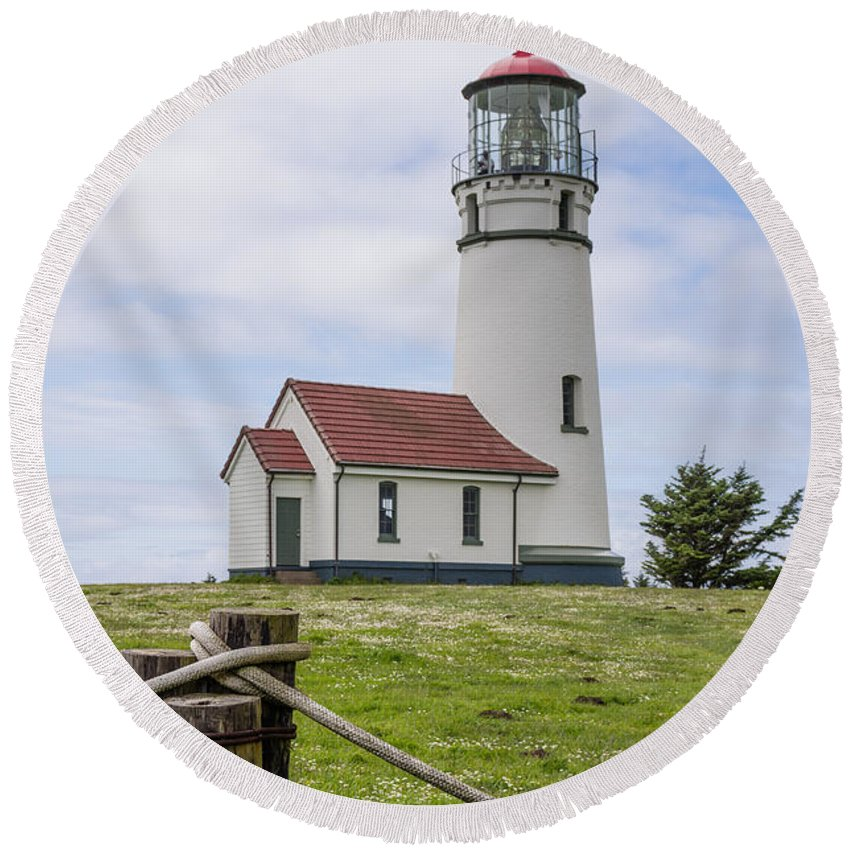 Cape Blanco Round Beach Towel featuring the photograph Cape Blanco Lighthouse by John Trax