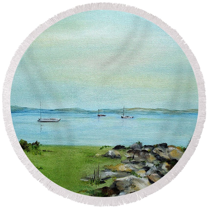 Cape Cod Round Beach Towel featuring the painting Cape Cod Boats by Judith Rhue
