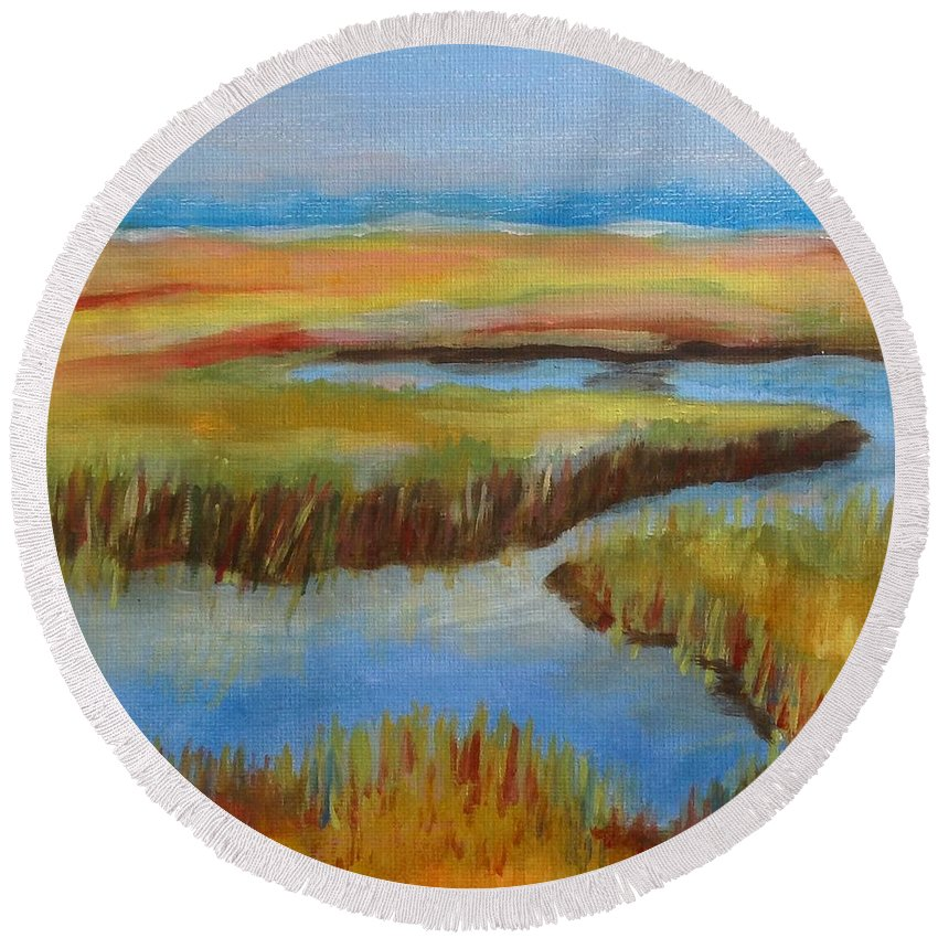 Cape Cod Round Beach Towel featuring the painting Cape Cod Colors by Catherine Maroney