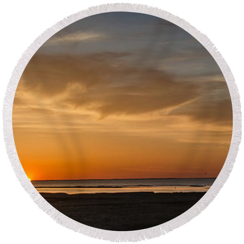 Cape Cod Round Beach Towel featuring the photograph Cape Cod Sunset by Pat Lucas