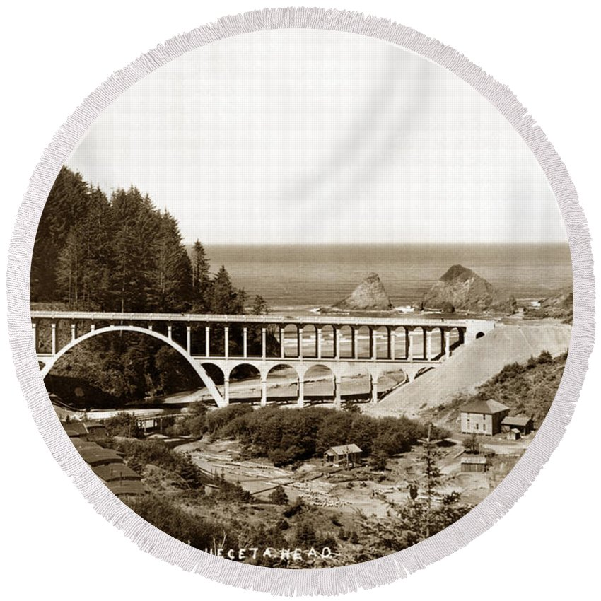Oregon Round Beach Towel featuring the photograph Cape Creek Bridge And Heceta Oregon Head Lighthouse Circa1933 by California Views Archives Mr Pat Hathaway Archives