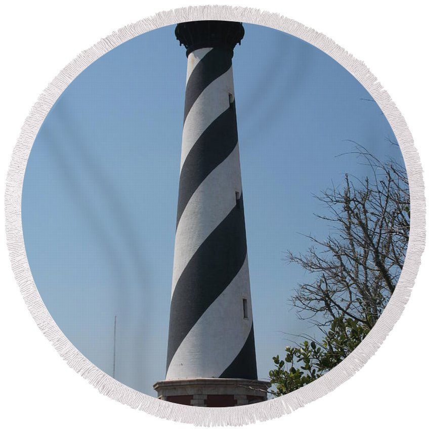 Lighthouse Round Beach Towel featuring the photograph Cape Hatteras Lighthouse by Christiane Schulze Art And Photography
