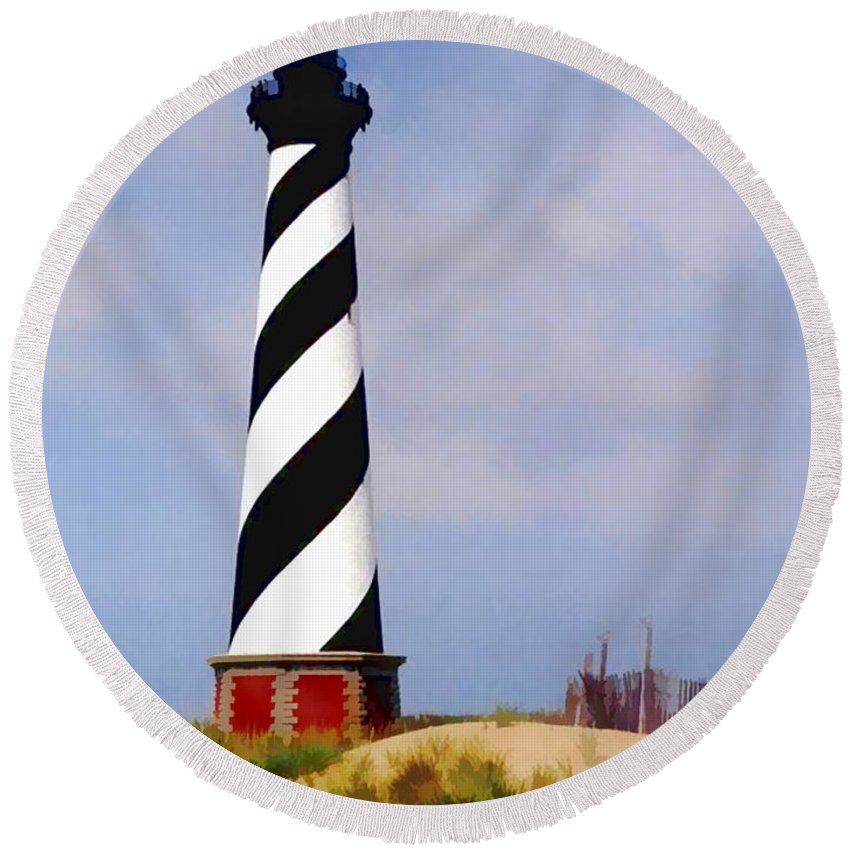 Ocean Round Beach Towel featuring the painting Cape Hatteras Lighthouse by Elaine Plesser