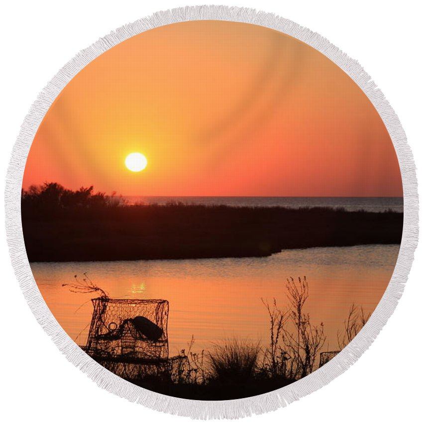 Michael Weeks Round Beach Towel featuring the photograph Cape Hatteras Sunset-north Carolina by Mountains to the Sea Photo