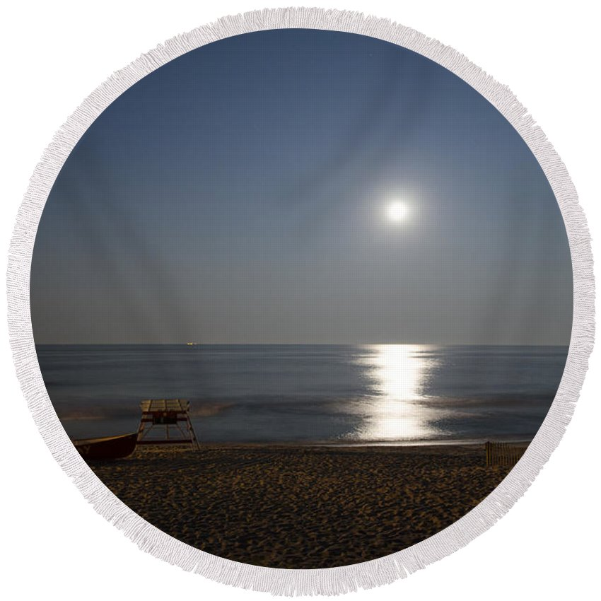 Cape Round Beach Towel featuring the photograph Cape May Beach In The Moonlight by Bill Cannon