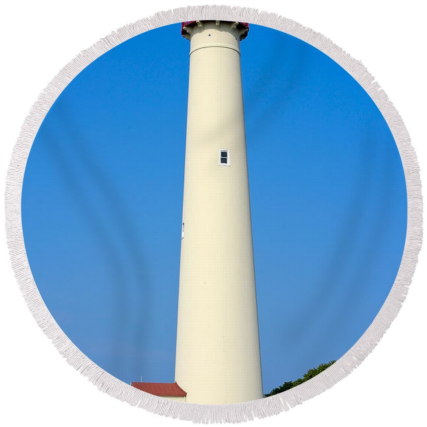Lighthouses Round Beach Towel featuring the photograph Cape May Lighthouse by Anthony Sacco