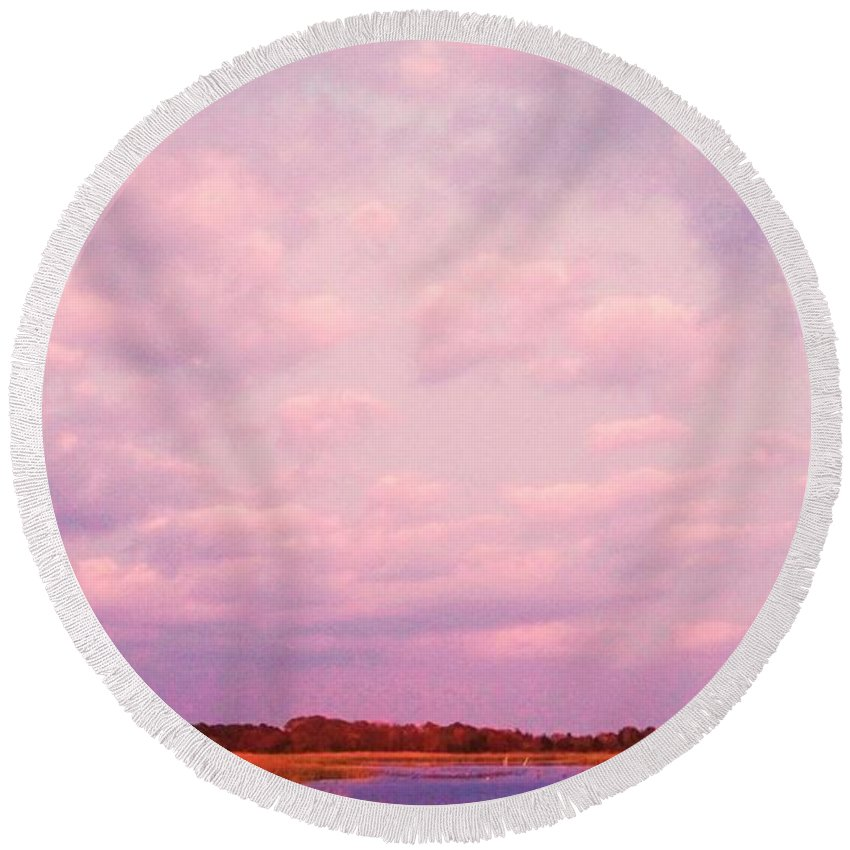 Cape May Round Beach Towel featuring the painting Cape May Point by Eric Schiabor