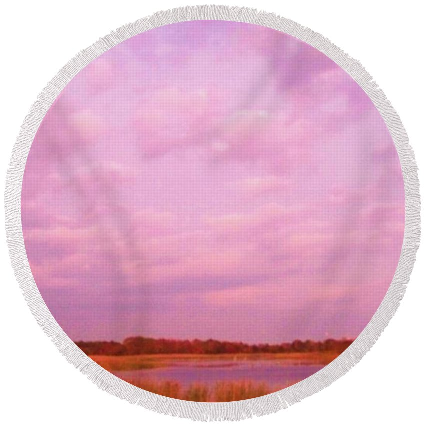 Cape May Point State Park Round Beach Towel featuring the photograph Cape May Point State Park Landscape by Eric Schiabor