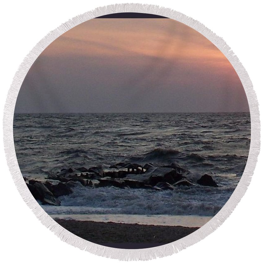 Cape May Round Beach Towel featuring the photograph Cape May Sunset Beac H by Eric Schiabor