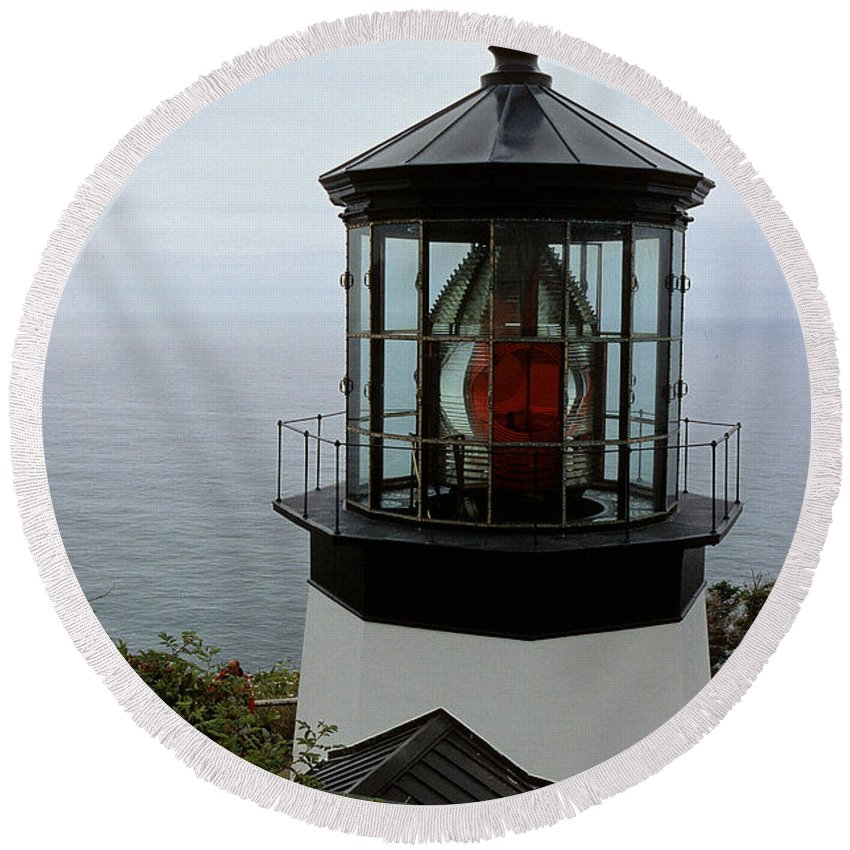 Cape Meares Round Beach Towel featuring the photograph Cape Meares Light by Sharon Elliott