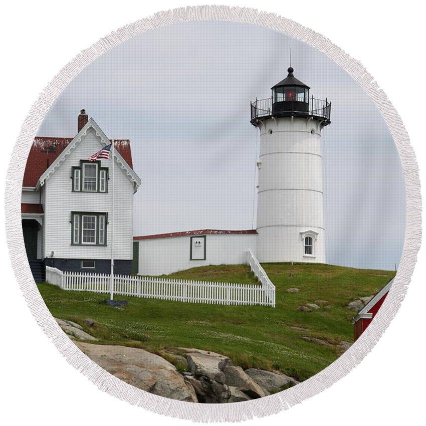 Cape Neddick Round Beach Towel featuring the photograph Cape Neddick Lighthouse by Christiane Schulze Art And Photography