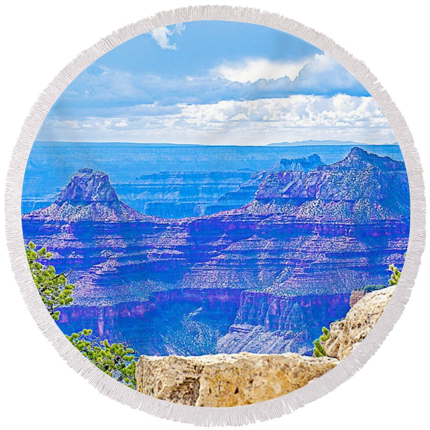 Cape Royal Blue On North Rim/grand Canyon National Park Round Beach Towel featuring the photograph Cape Royal Blue On North Rim Of Grand Canyon-arizona by Ruth Hager