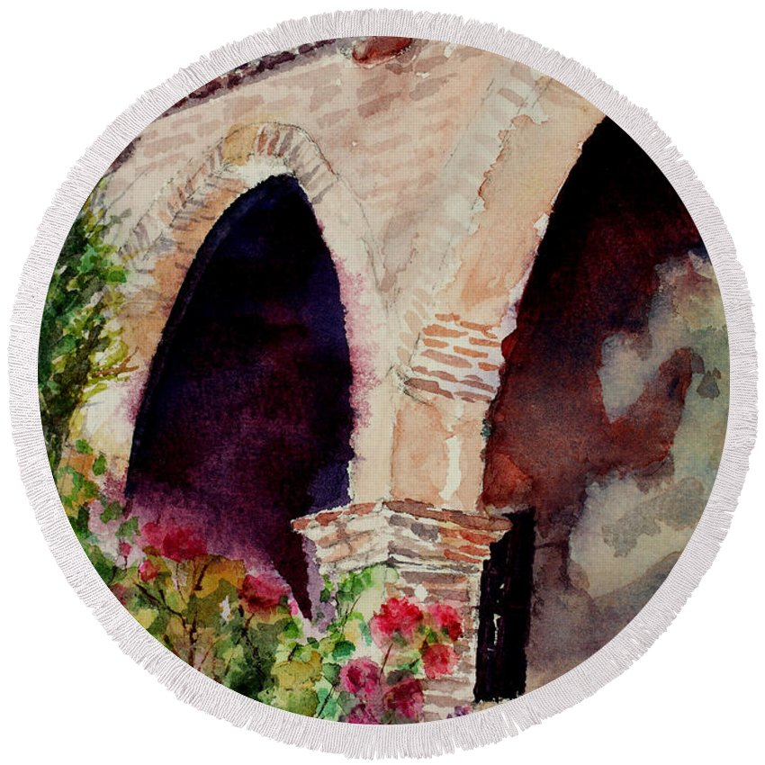 Watercolor Round Beach Towel featuring the painting Capistrano Arches by Mary Benke