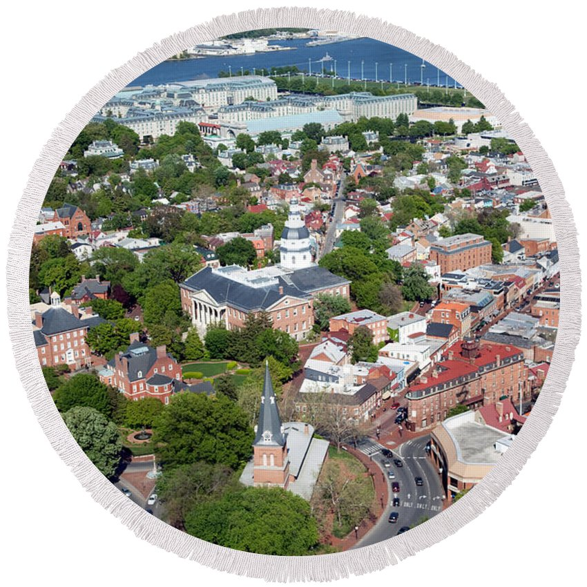 Historic District Round Beach Towel featuring the photograph Capital City Of Maryland by Bill Cobb